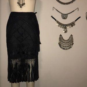 Vintage 70s Macrame Rayon Fringe Woven Skirt